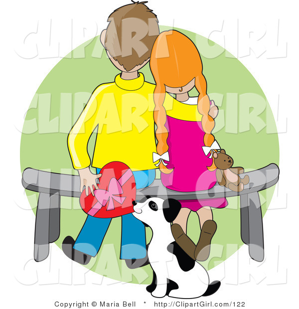 Clip Art of a Sweet Boy Sitting on a Bench Beside His Red Haired Girlfriend Who Is Resting Her Head on His Shoulder near Her Dog