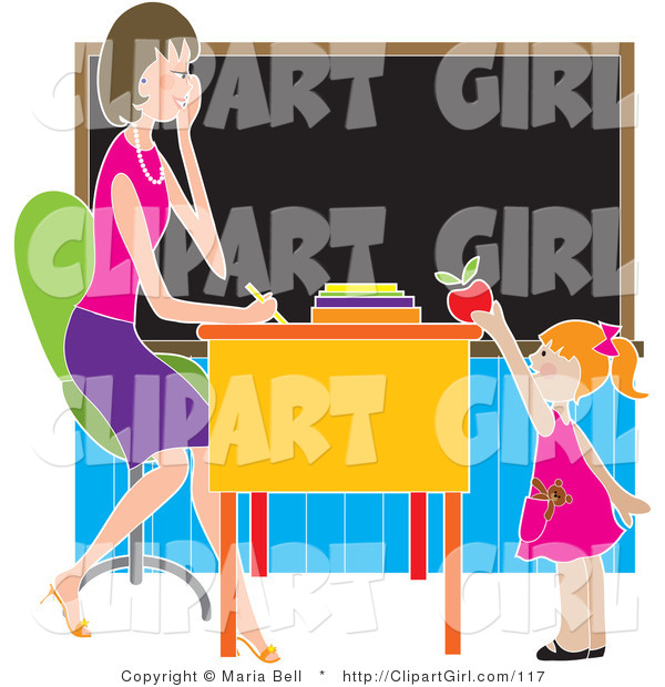 Clip Art of a Sweet Red Haired School Girl Teacher's Pet Standing in Front of Her Female Teacher's Desk in a Classroom, Putting a Red Apple on the Desk