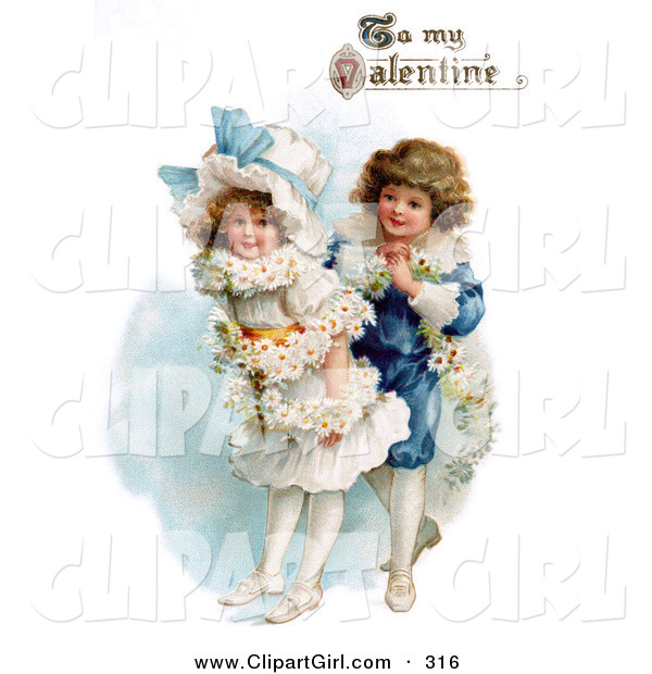 "Clip Art of a Sweet Vintage Valentine of a Boy Wrapping His Girlfriend in a White Daisy Flower Garland with ""To My Valentine"" Text, Circa 1890"