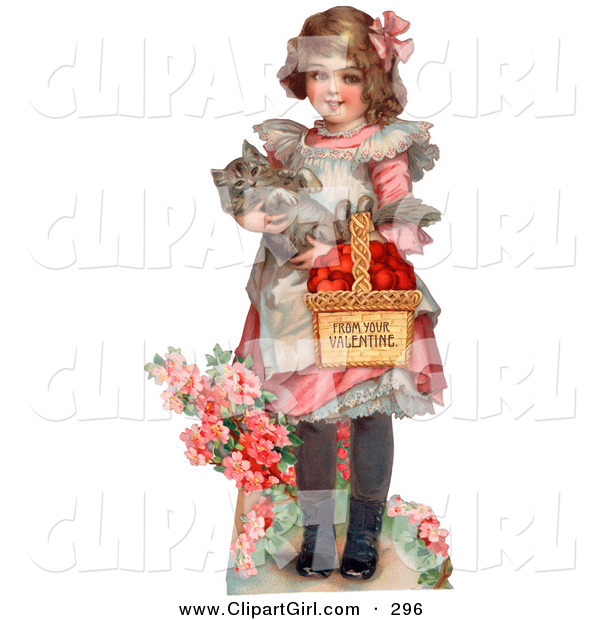 Clip Art of a Sweet Vintage Valentine of a Little Girl Carrying a Basket of Red Hearts and a Cat in Her Arms, Walking in a Flower Garden, Circa 1885