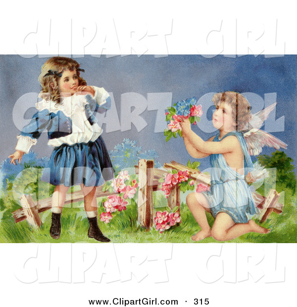 Clip Art of a Sweet Vintage Valentine of a Surprised Little Girl Leaning Back While Cupid Kneels Before Her, Offering Her Flowers in a Garden, Circa 1905