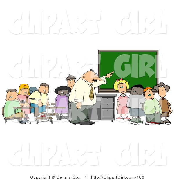 Clip Art of a Teacher and His Elementary Students in Classroom