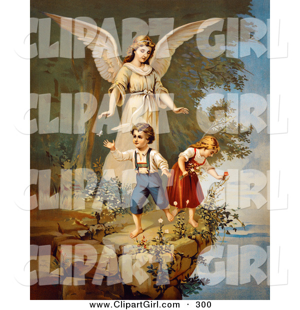 Clip Art of a Touching Vintage Valentine of a Female Guardian Angel Watching over a Little Boy and Girl As They Pick Flowers and Chase Butterflies at the Edge of a Cliff, Circa 1890
