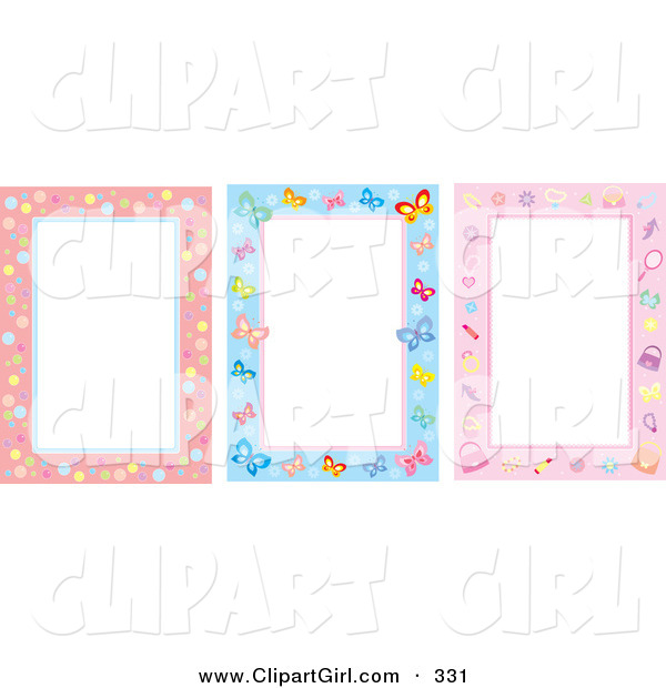 Clip Art of a Trio of Bubble, Butterfly and Feminine Stationery Backgrounds
