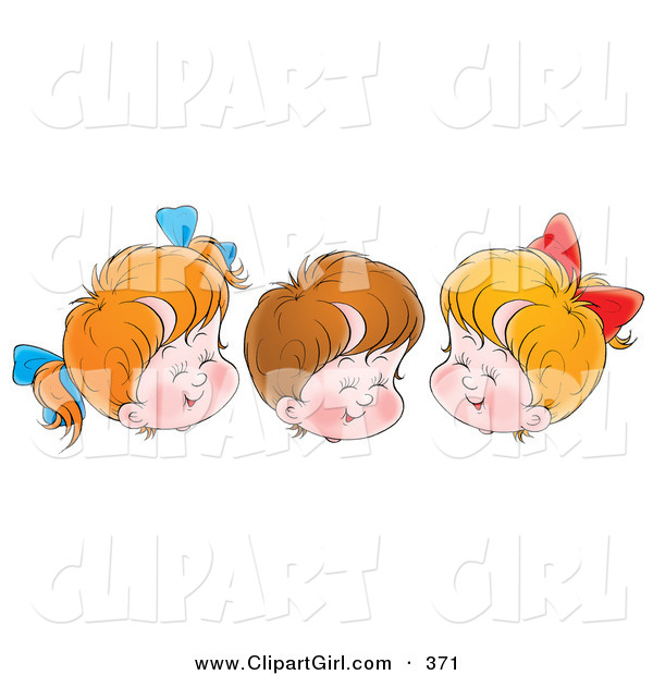 Clip Art of a Trio of Cheerful Children, Two Girls and One Boy, Giggling with Their Eyes Closed