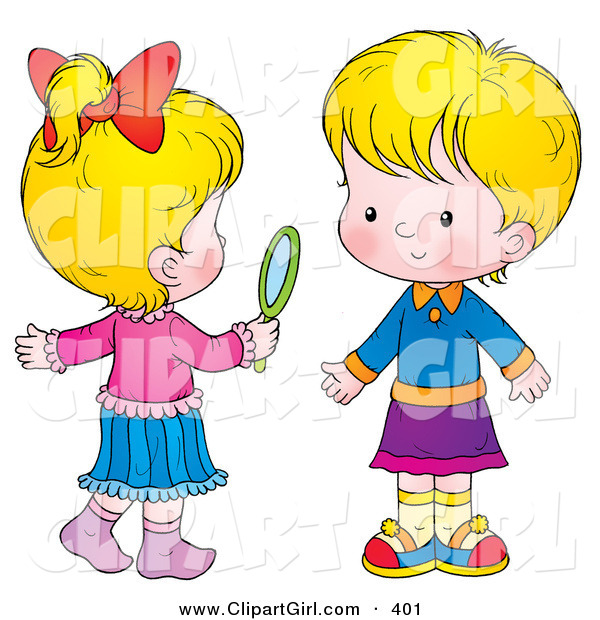 Clip Art of a Two Little Blond Girls in Skirts, One Holding a Hand Mirror
