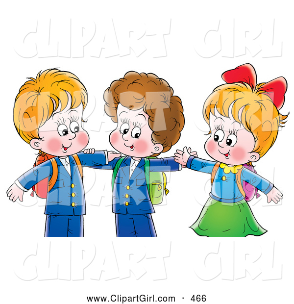 Clip Art of a Two Little Smiling Boys and a Girl Hugging