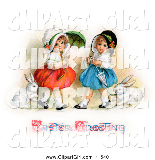 Clip Art of a Two Sisters Walking Their Pet Rabbits on Leashes and Carrying Parasols on Easter