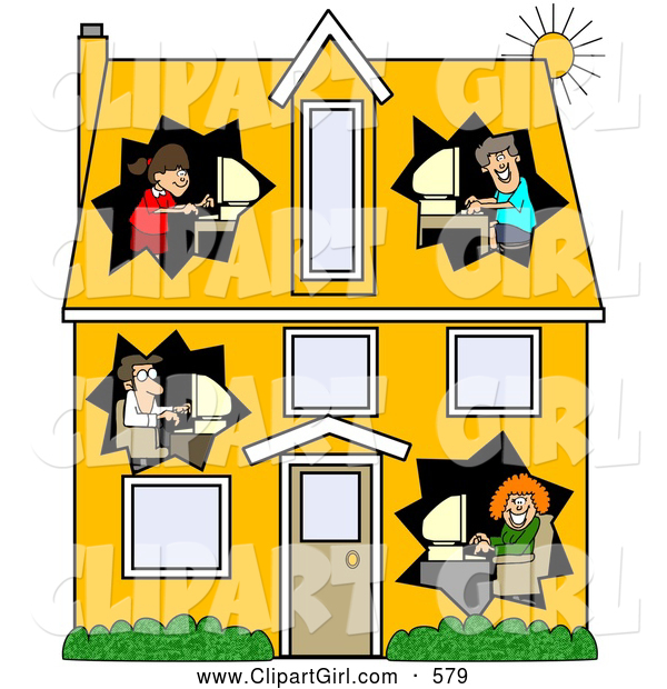 Clip Art of a Two Story Home