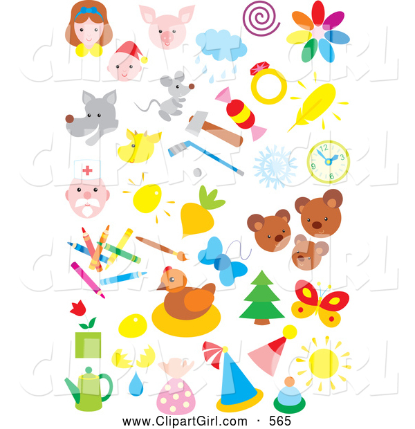 Clip Art of a Various Colorful Icons of People, Animals, Weather, Sports, and Art
