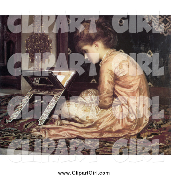 Clip Art of a Vintage Girl Sitting on a Carpet, Reading a Book at a Reading Desk by Frederic Lord Leighton
