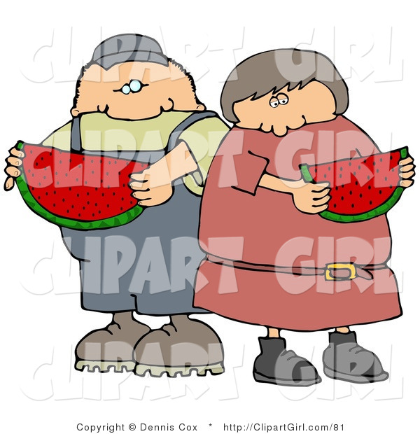Clip Art of a White Boy or Man Eating a Juicy Red Slice of Watermelon with His Sister, Friend or Wife on a Hot Summer Day