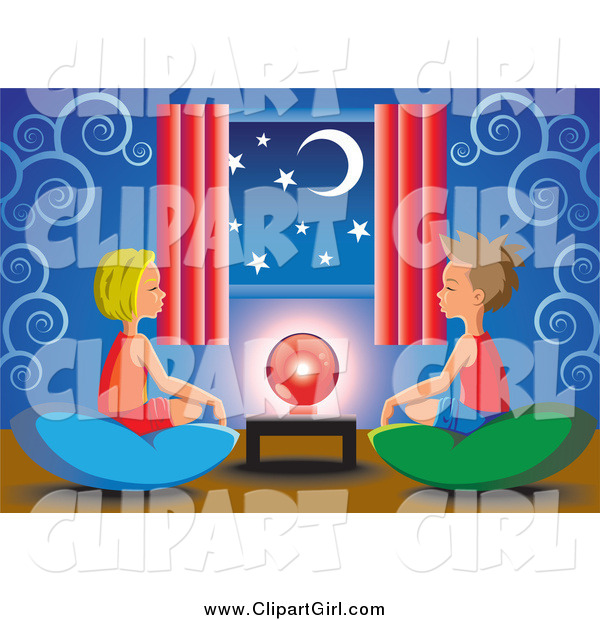 Clip Art of a White Little Boy and Girl Sitting on Pillows Around a Crystal Ball