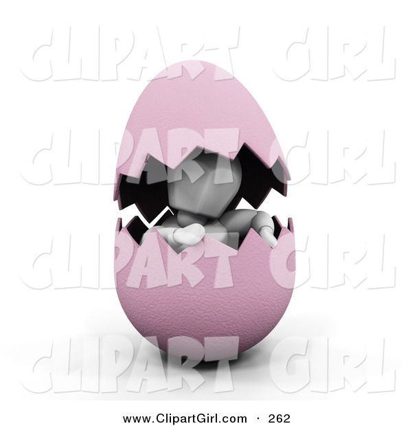 Clip Art of a White Man Peeking out from Inside of a Cracked Pink Easter Egg