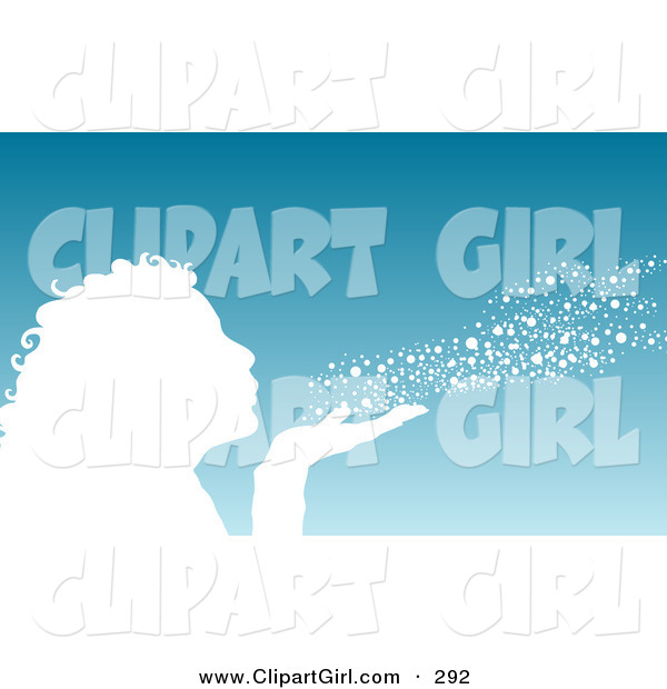 Clip Art of a White Silhouetted Woman or Girl Blowing Snow out of Her Hand over a Gradient Blue Winter Background