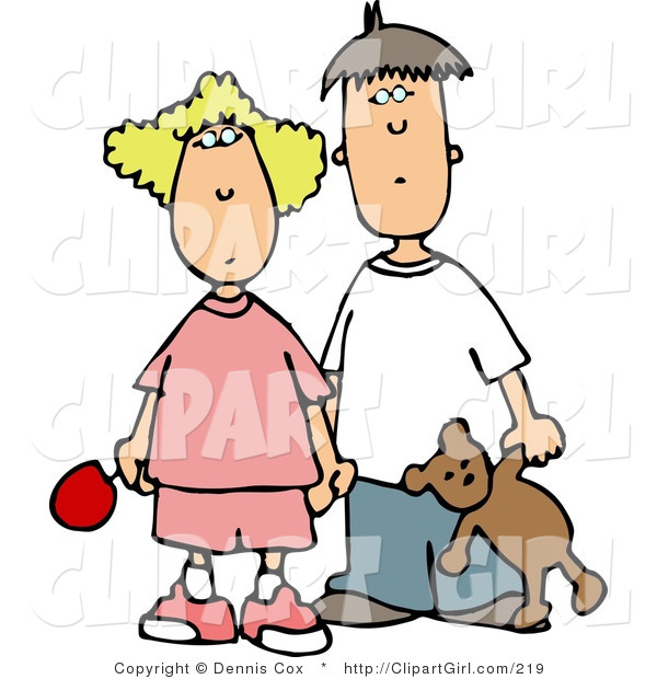 Clip Art of a Worried Brother and Sister Holding Hands, Looking Forward