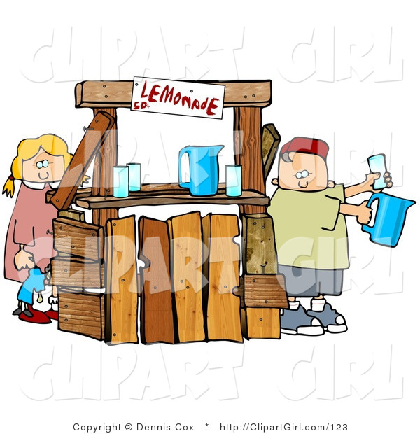 Clip Art of a Young Boy and Girl, Brother and Sister, Selling Beverages at a Lemonade Stand