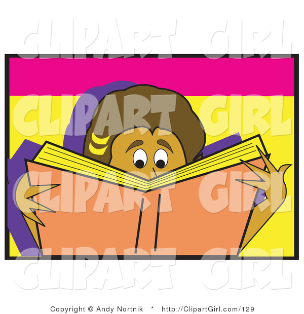 Clip Art of a Young Boy or Girl Reading a Really Good Book