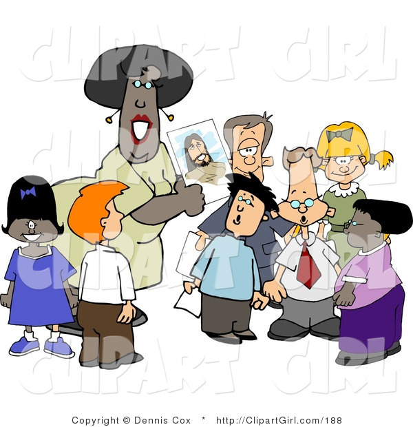 Clip Art of an African American Christian Sunday School Teacher Teaching Students About Jesus Christ