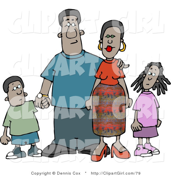 Clip Art of an African American Family Standing Together As a Group and Holding Hands