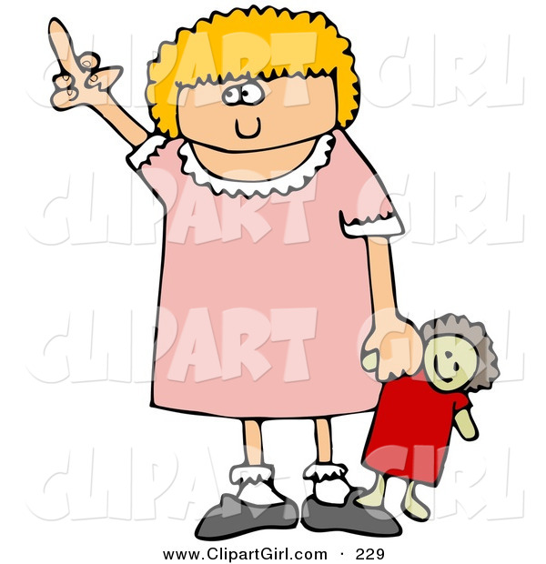Clip Art of an Angry Little Blond Caucasian Girl Holding Her Doll and Flipping Someone off After Not Getting Her WayAngry Little Blond Caucasian Girl Holding Her Doll and Flipping Someone off After Not Getting Her Way