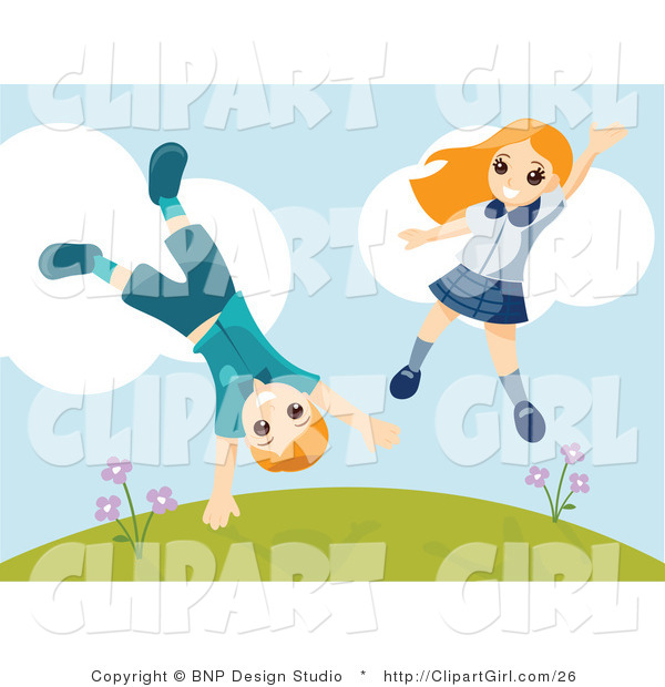 Clip Art of an Energetic Boy and Girl Jumping and Doing Cartwheels on a Hillside