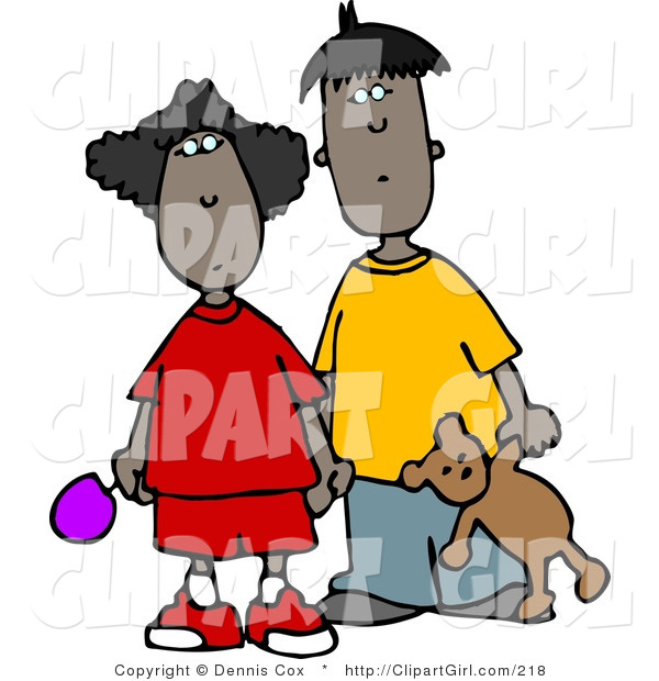 Clip Art of an Ethnic Brother and Sister Standing Together and Holding Hands
