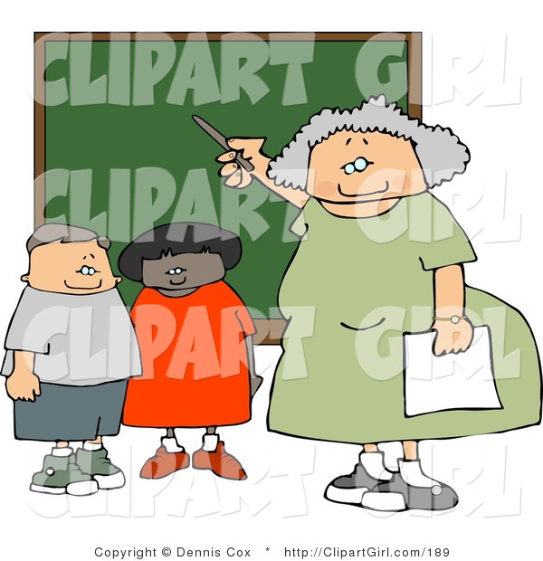 Clip Art of an Old Female Elementary School Teacher Teaching Students in a Classroom on a Chalkboard