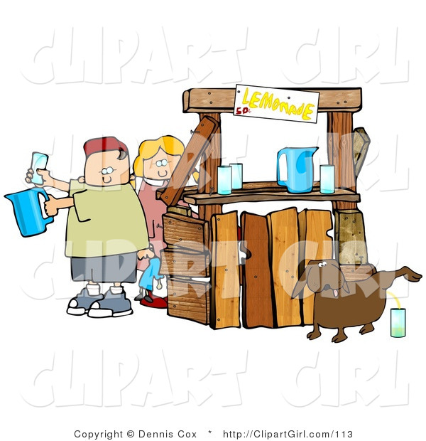 Clip Art of an Unaware Boy and Girl Preparing Drinks at Their Lemonade Stand While Their Dog Urinates in a Cup for an Unsuspecting Customer