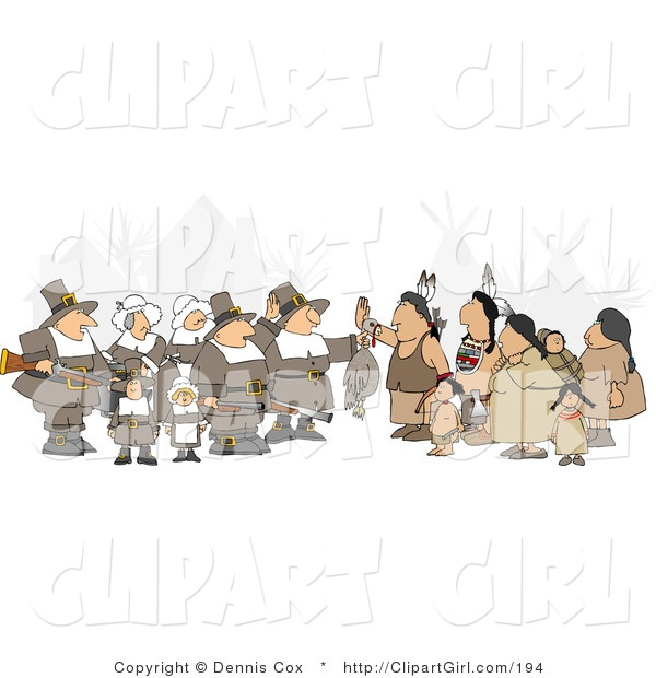 Clip Art of an Unpredictable Group of Pilgrims Holding a Dead Turkey As a Sign of Thanksgiving to the Native Americans