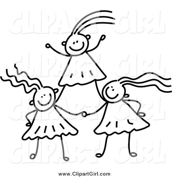 Clip Art of Black and White Girls Forming a Pyramid