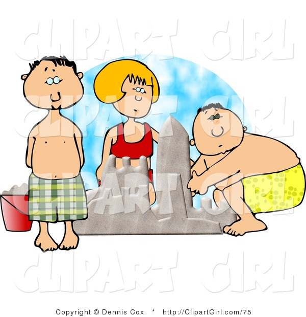 Clip Art of Boys and Girl Building a Sand Castle at the Beach in Summertime