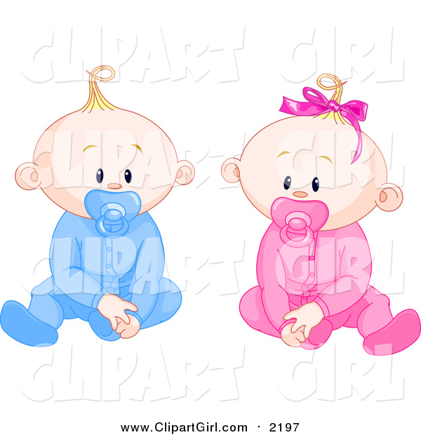 Clip Art of Caucasian Boy and Girl Baby Twins with Pacifiers, Sitting up and Facing Front