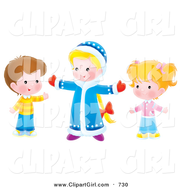 Clip Art of Caucasian Children Holding Their Arms Open