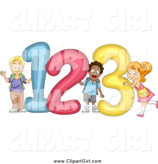 Clip Art of Cute Diverse School Children with 123 Numbers