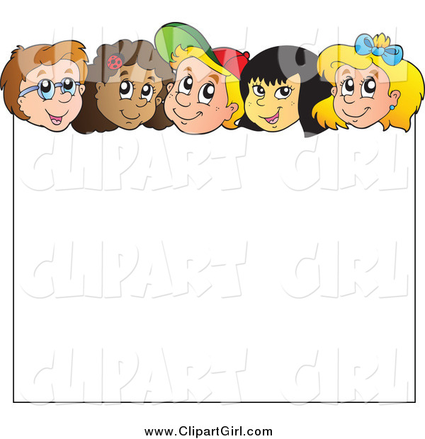 Clip Art of Diverse Happy Children over a Blank Sign