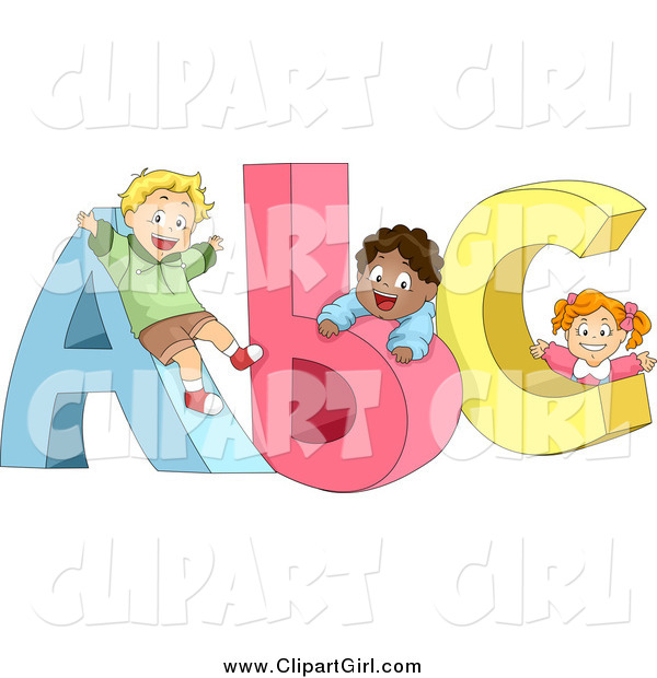 Clip Art of Diverse School Children Playing on ABC