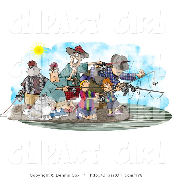 Clip Art of Family and Friends Fishing Together at a Lake Under the Sun on a Warm Day