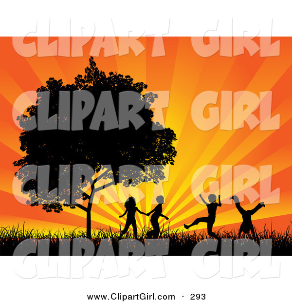 Clip Art of Four Black Silhouetted Children Running, Holding Hands and Doing Somersaults in a Field near a Tree, Against a Bursting Orange Sunset