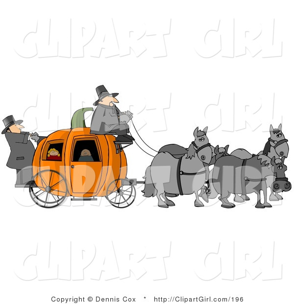 Clip Art of Gray Horses Pulling People on a Pumpkin Carriage