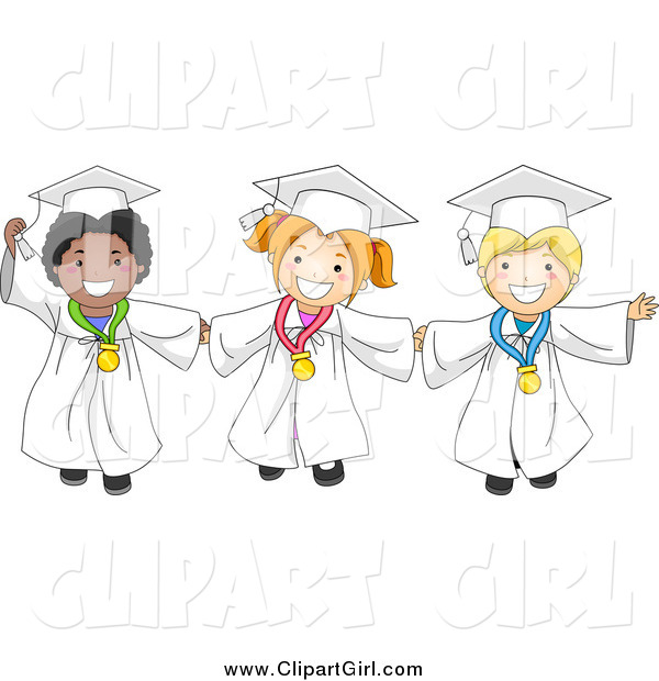 Clip Art of Happy Diverse Graduate Kids Holding Hands and Wearing Medals