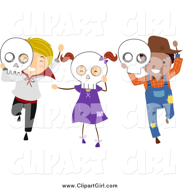 Clip Art of Happy Halloween Kids with Skull Masks