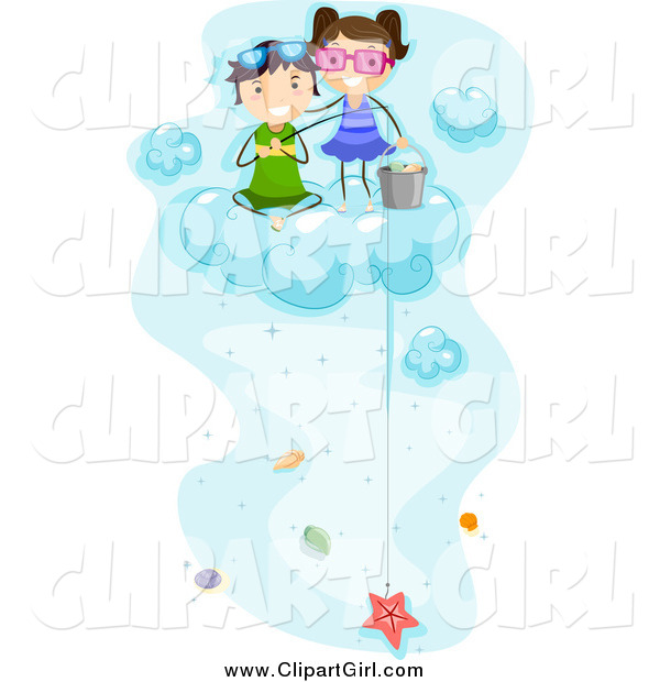 Clip Art of Happy Kids Fishing for Sea Shells on a Cloud