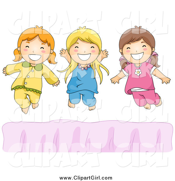 Clip Art of Happy White Girls Jumping on a Bed