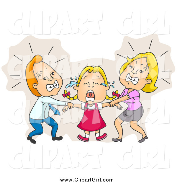 Clip Art of Parents Fighting over Custody of Their Crying Daughter