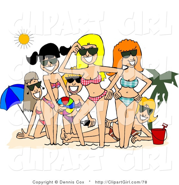 Clip Art of Smiling Beach Girls Posing Together Under the Summer Sun