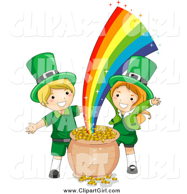 Clip Art of St Patricks Day Leprechaun Kids with Gold at the End of the Rainbow