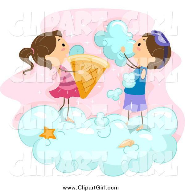 Clip Art of Stick Kids Making Ice Cream Cones from Clouds