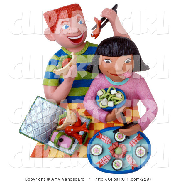 Clip Art of Two 3d Kids Eating Sushi for Lunch