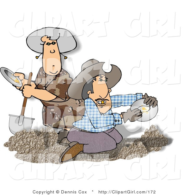 Clip Art of Two Gold Miners Panning for Gold